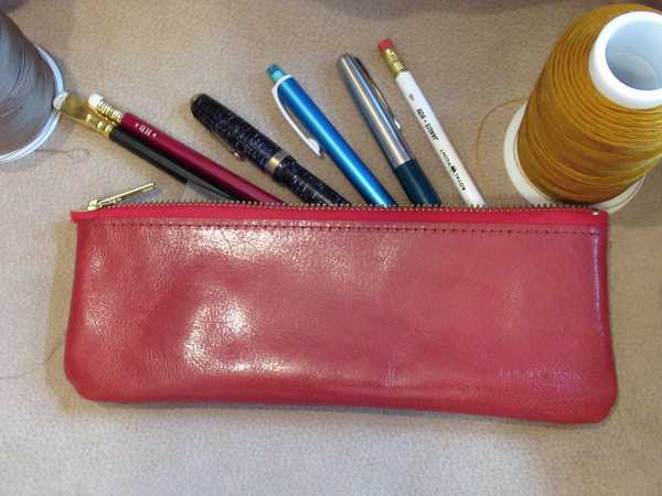 RoyalPoint Janus Long Pencil Case Red Leather